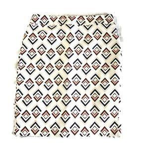 Ann Taylor Cream geometric print pencil skirt 12
